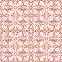 Estampa floral. Papel de parede barroco, damasco. Vetor sem costura de fundo. Ornamento vermelho e branco