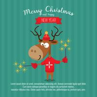 Card with christmas santa reindeer. Cute cartoon deer with pyrotechnics