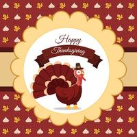 Illustration vectorielle de dinde de Thanksgiving heureuse