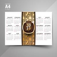 Negro y oro 2019 patrón calendario diseños