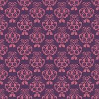 Estampa floral. Papel de parede barroco, damasco. Vetor sem costura de fundo. Ornamento roxo e rosa