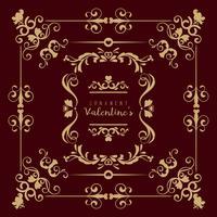 Valentinsgruß eingestellt mit verschiedenen gewirbelten Blumenverzierungen