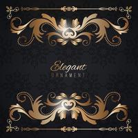 Vintage invitation card. Black luxury background with golden frame. Template for design