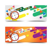 Back to school banners with realistic clock