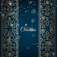 Elegant Christmas blue background with shining golden ornament