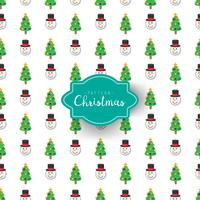 Vector christmas pattern tree and snowman