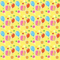 Birthday pattern with gift boxes, balloon and candy
