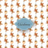 Seamless pattern with christmas symbols in cartoon style. Gingerbread man and coffee