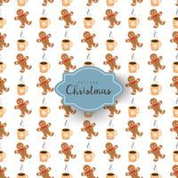 Modèle sans couture avec symboles de Noël en style cartoon. Bonhomme en pain d'épice et café