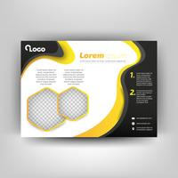 Black and yellow business flyer template. Modern background