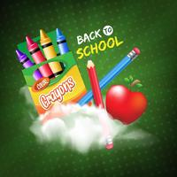 Back to school with realistic crayons and pencils