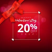 Fondo di vendita eccellente di giorno di San Valentino. Sfondo astratto rosso con nastro