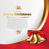 Campanas de Navidad doradas con un fondo de lazo rojo.