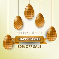 Ovos de Páscoa de ouro com saudação de feriado