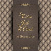 Vintage wedding invitation with leather black