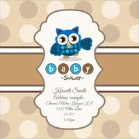 Brown card for baby shower with a cute owl