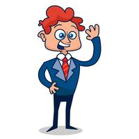 Young businessman salutes. Vector illustration