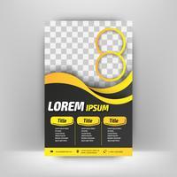 Folleto de geometría amarilla, diseño de flyer plantilla vector diseño