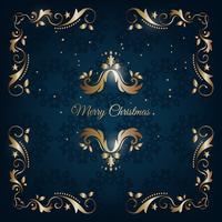 Cartão azul e dourado do natal vintage com decoração floral