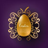Ovo de Páscoa dourado com saudação de feriado