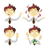 Samling av expressiv affärsman karaktär