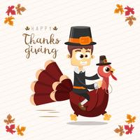 Thanksgiving greeting card with a man and turkey. Funny cartoon character for holiday