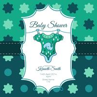 Baby shower card with cute shirt and elephant