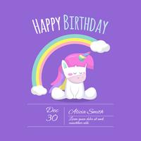 Pretty unicorn card with rainbow