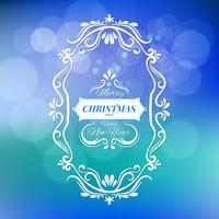 God jul och gott nytt år vektor illustration isolerad på blå suddig bakgrund