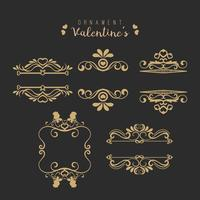 Valentine set with different swirled floral ornaments