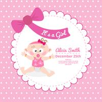 Cute baby shower card in pink color