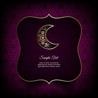 Ramadan Kareem theme. Vector card with flashlights, moon and lights