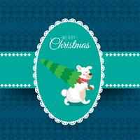 Merry Christmas and happy new year childish card, image of bear