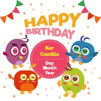 Feliz aniversário com pássaros bonitos