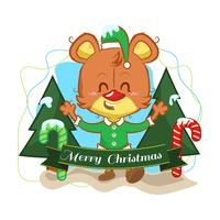 Christmas background with a cute bear