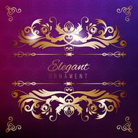 Vintage invitation card. Purple luxury background with golden frame. Template for design