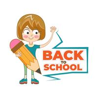 Back to School cartoon character holding pencil