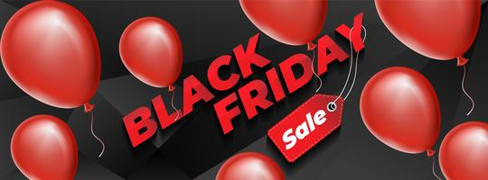 Black friday design with red realistic balloons