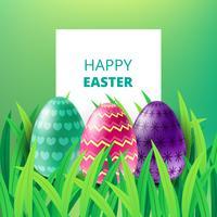 Glückliche Ostern-Karte mit Eiern, Gras, Blatt und unscharfem Hintergrund