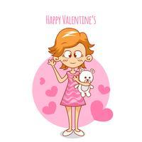 Chica romántica de dibujos animados del día de San Valentín con oso