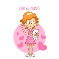 Valentine's Day cartoon romantic girl with bear