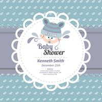 Cute baby shower card in blue color
