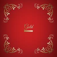 Quadro de ornamento em fundo dourado e vermelho