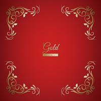 Prydnad ram på gyllene och röd bakgrund
