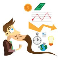Economista hombre de negocios perfecto para información gráfica ilustración