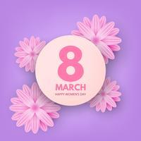 Mars bonne journée des femmes. Carte de voeux Floral coupée avec du papier violet et blanc.