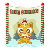 Sfondo di Natale con un simpatico gatto