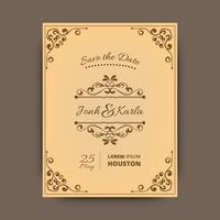 Plantilla del vector de la tarjeta de felicitación del ornamento del vintage.