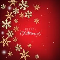 Jul bakgrund med gyllene snöflingor på rött
