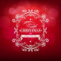 Merry Christmas Greeting Card with Label on a Sparkling Blurred Background